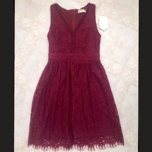 Altar'd State lace burgundy dress